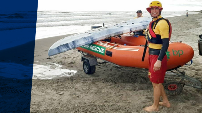 Omanu Beach Surf Life Saving Club, inflatable Rescue Boat (IRB).